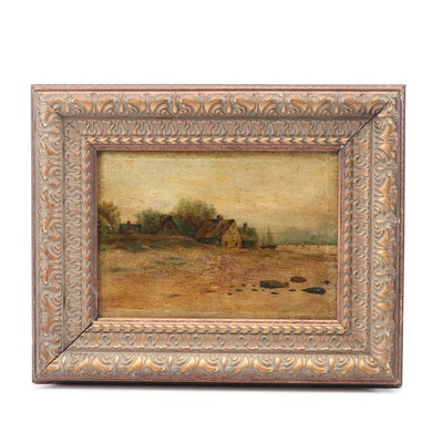 19th Century Seaside Landscape Oil Painting