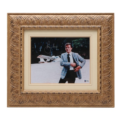 "Roger Moore Signed ""James Bond 007"" Matted and Framed Photo Print, Beckett COA"