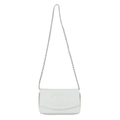 Chanel CC Flap Wallet on Chain in White Caviar Leather
