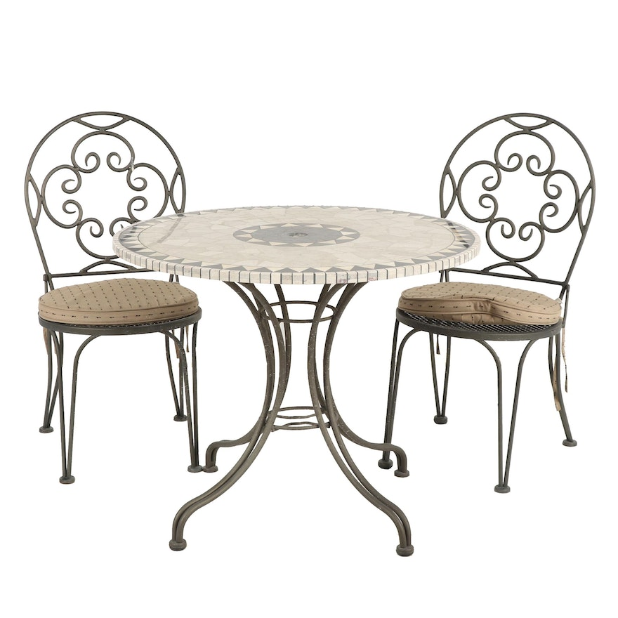 Contemporary Metal and Stone Patio Table and Chair Set