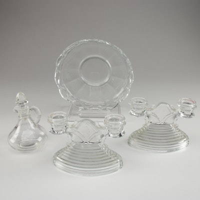 Vintage Pressed Glass Candlesticks and Tableware