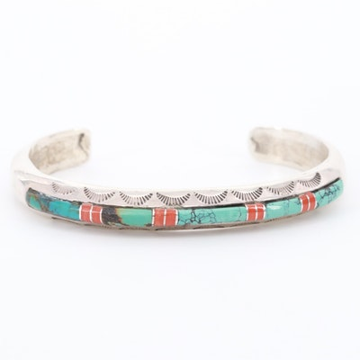 Southwestern Style Sterling Silver Turquoise and Coral Cuff Bracelet