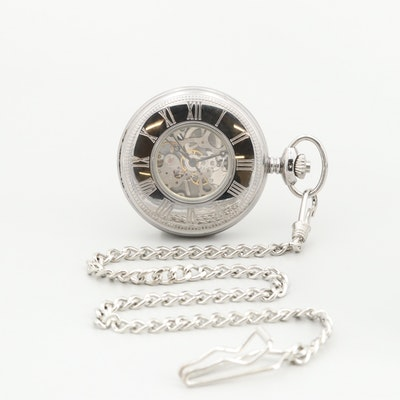 Swingtime Silver-Tone Partial Skeleton Dial Pocket Watch With Chain Fob