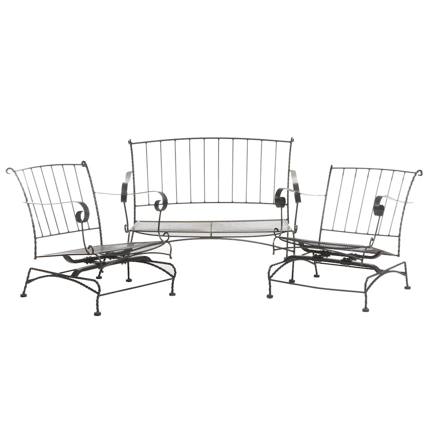 Contemporary Black Metal Patio Loveseat and Armchairs