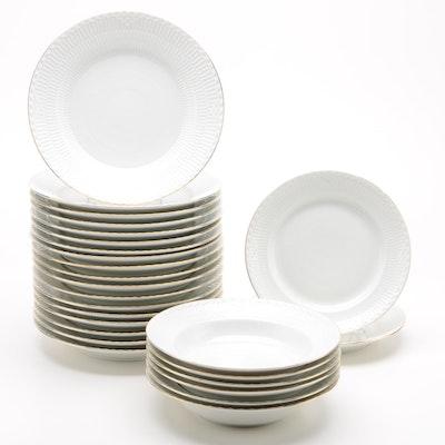 "Royal Copenhagen ""Gold Fan"" Porcelain Dinnerware"