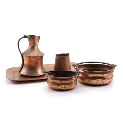 Copper Pitchers, Pots and Serving Tray, Mid-Century