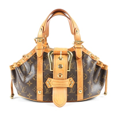 Louis Vuitton Paris Limited Edition Theda GM Bag in Monogram Canvas and Leather