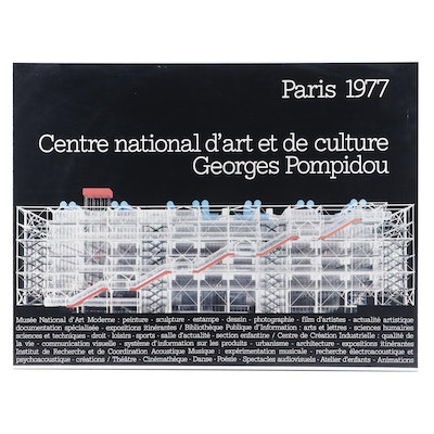 Georges Pompidou Offset Lithograph Exhibition Poster