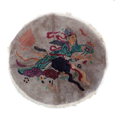 Hand-Knotted Chinese Peking Pictorial Round Wool Rug