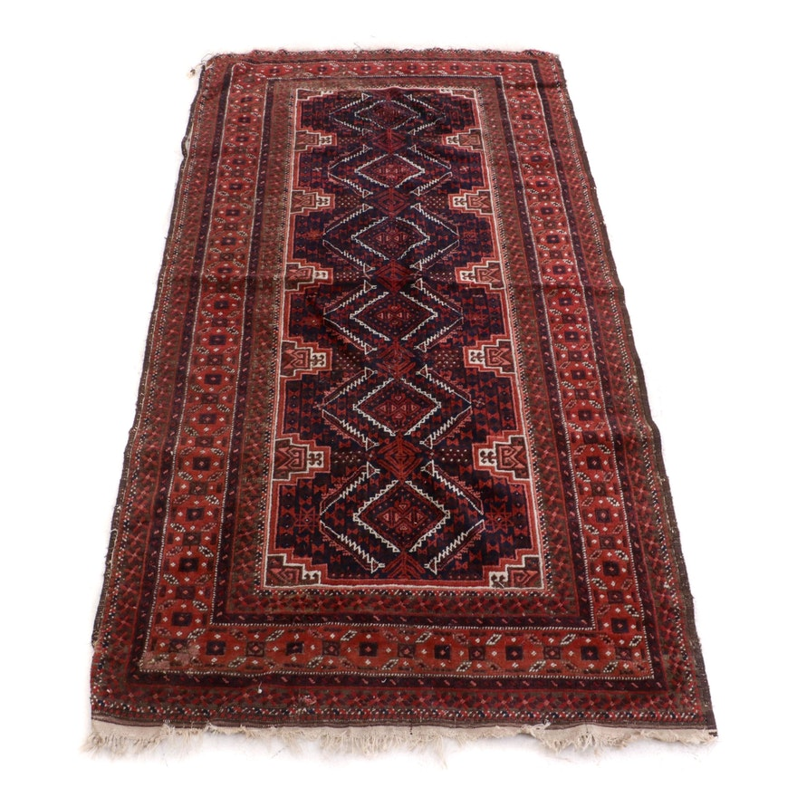 Hand-Knotted Turkish Yomut Wool Long Rug