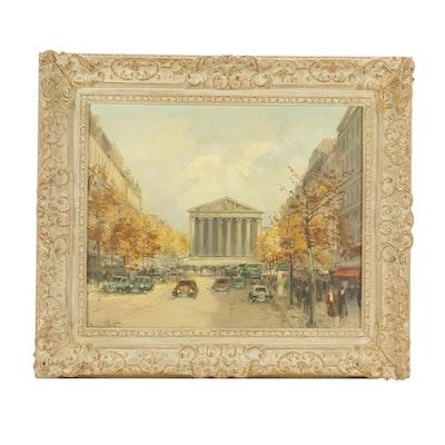 Charles Blondin Parisian Street Scene Oil Painting