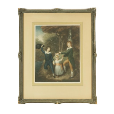 """Intaglio Print After Sir Thomas Lawrence """"The Three Children of Lord Cavendish"""""""