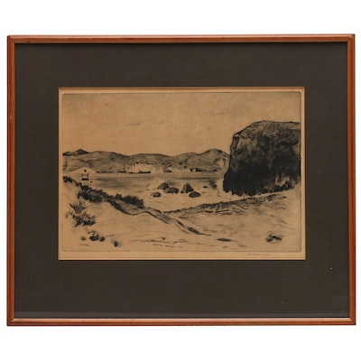 """Lawrence Norris Scammon 1927 Drypoint Etching """"Golden Gate / San Francisco"""""""