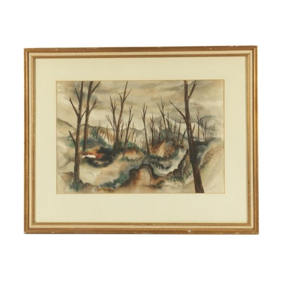 Landscape with Bare Trees Watercolor Painting
