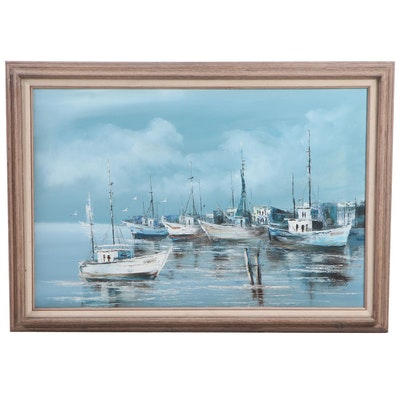 Late 20th Century Harbor View Oil Painting