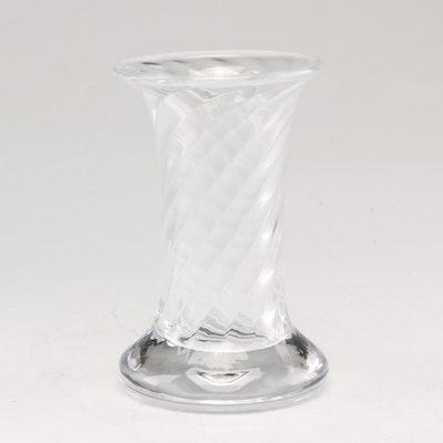 """William Yeoward Crystal Clear """"Swirl"""" Small Bud Vase"""