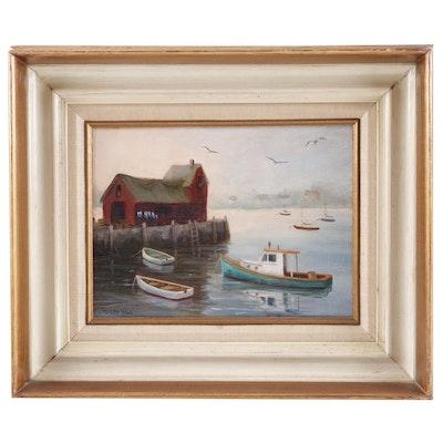 J. Tweed Hill Coastal Landscape Oil Painting