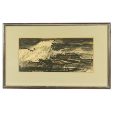 """Jessie Phil Olmes Gouache Painting """"Rushing Surf"""""""