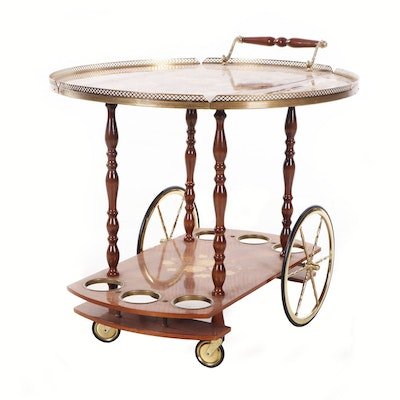 Italian Wood Marquetry Drop Leaf Beverage Cart, circa 1960