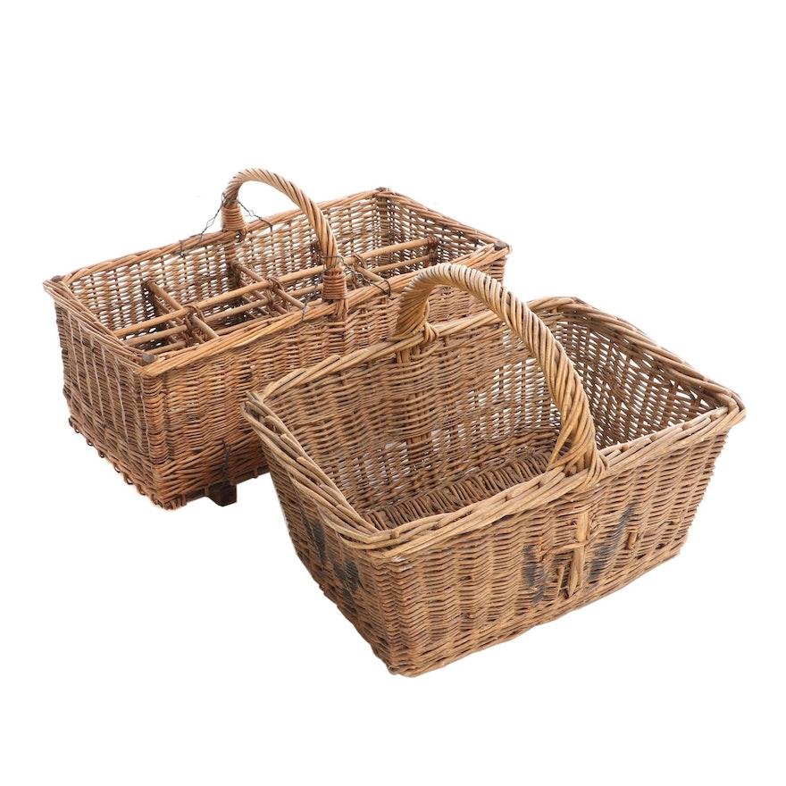 Wicker Wine Bottle Basket and Laundry Basket