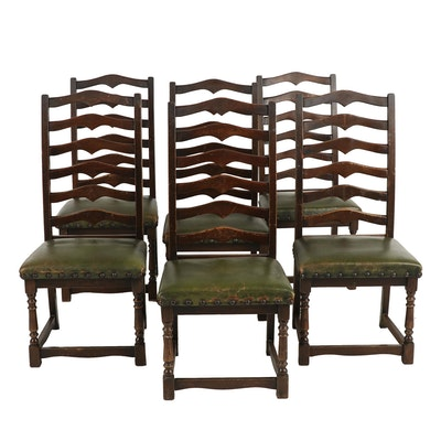 Set of Six Spanish Baroque Style Oak Ladderback Side Chairs, Late 20th Century