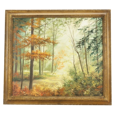 Mid Century Oil Landscape Painting
