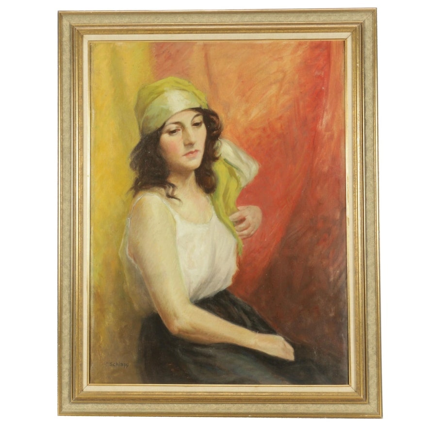 Oil Portrait Painting of Gypsy Woman
