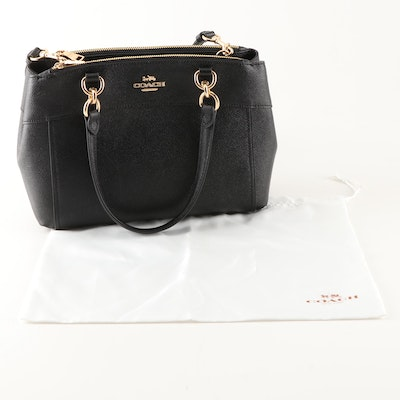 Coach New York Mini Brooke Satchel in Black Crossgrain Leather