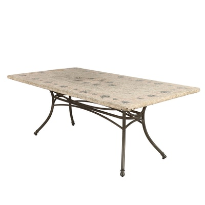 Contemporary Metal and Stone Outdoor Patio Table