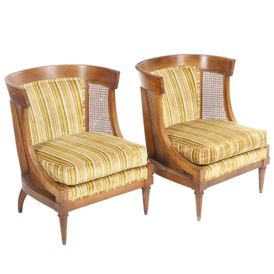 Pair of Mid Century Transitional Upholstered and Caned Walnut Chairs