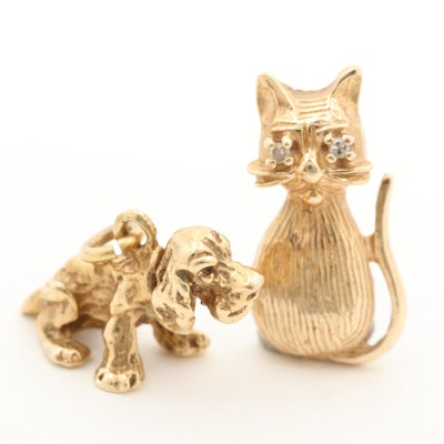 14K Yellow Gold Dog and Diamond Cat Pendants