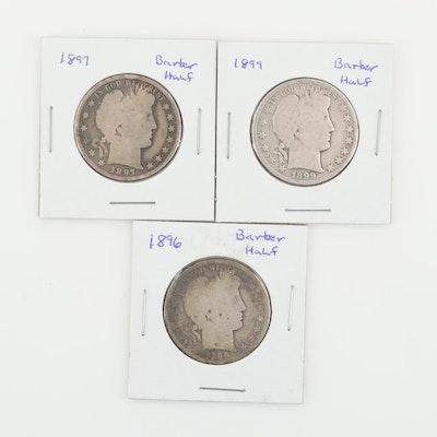 Three Silver Barber Half Dollars: 1896, 1897, and 1899