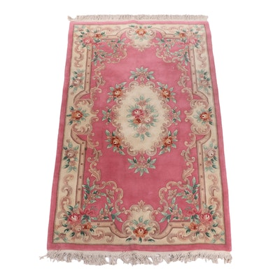 Hand-Knotted Chinese Savonnerie Style Carved Wool Rug