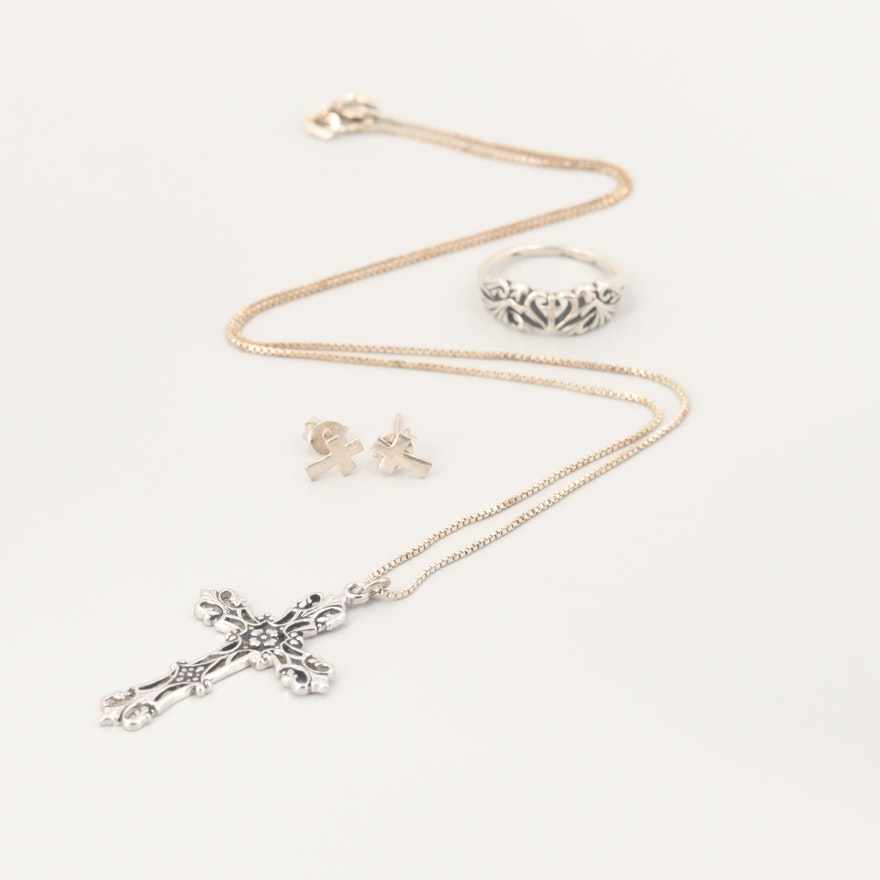 Sterling Silver Cross Jewelry Assortment