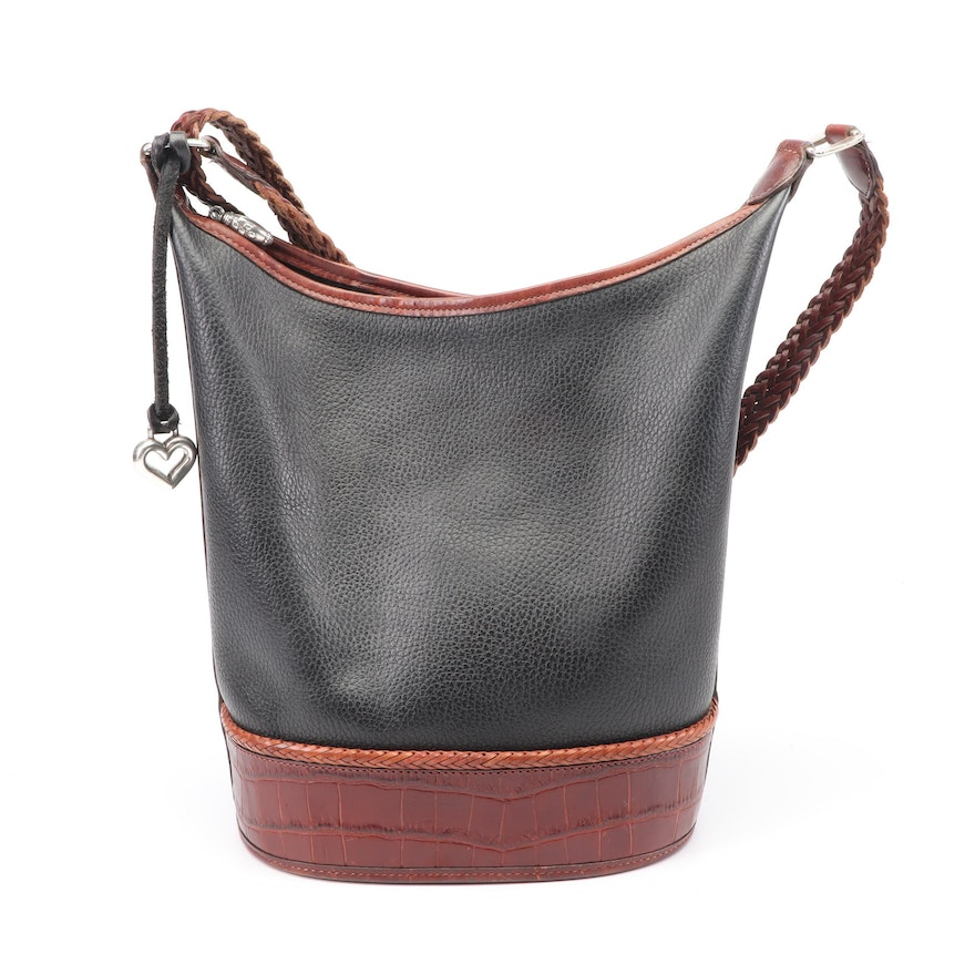 Brighton Two-Tone Pebbled Leather Bucket Bag with Croc Embossed and Braided Trim