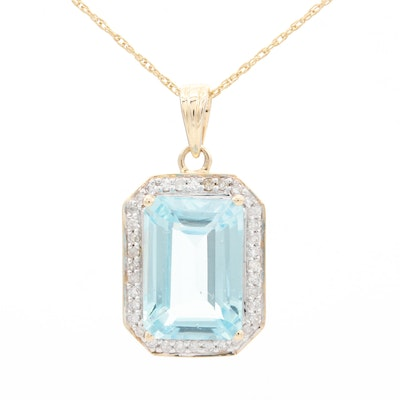 14K Yellow Gold Blue Topaz with Diamond Halo Pendant Necklace