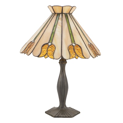 Cast Metal Table Lamp with Slag and Stained Glass Tulip Shade