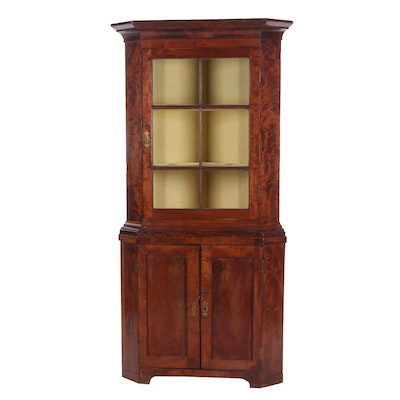 Figured Mahogany Corner Cabinet, Early 19th Century