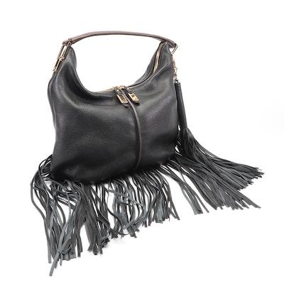G.I.L.I. Black Pebbled Leather Fringe Hobo Bag with Brown Leather Handle