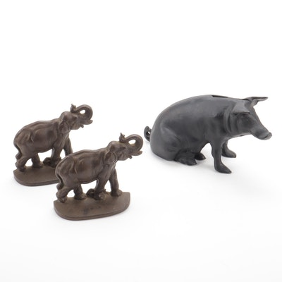 Cast Iron Piggy Bank and Elephant Doorstops