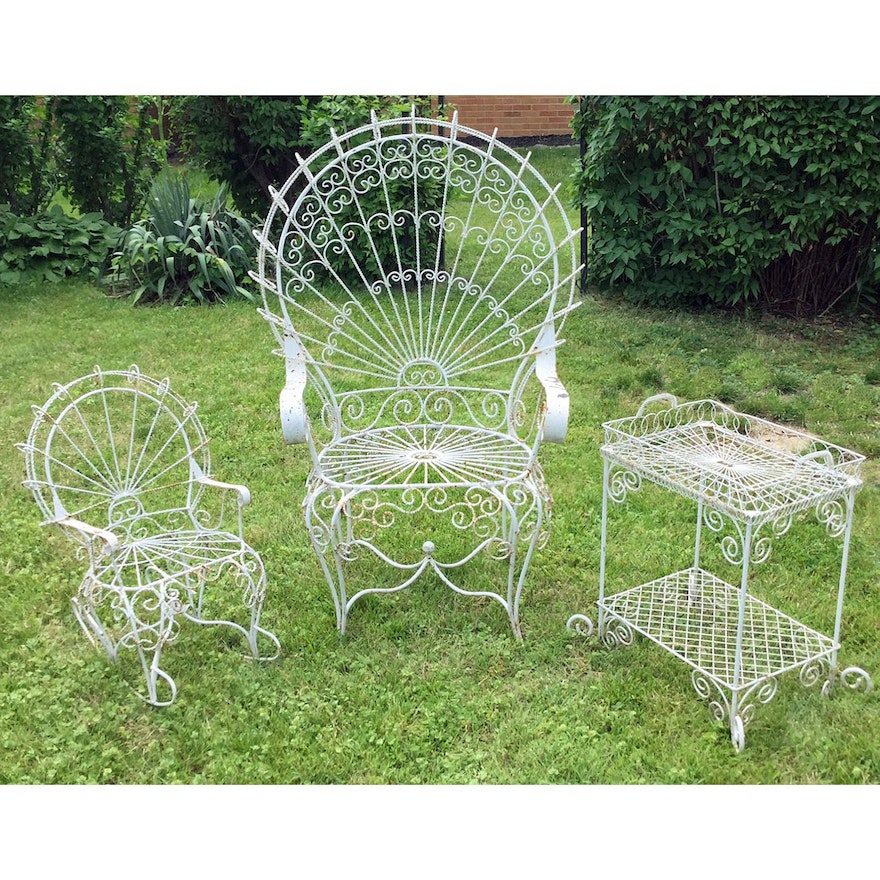 Wrought Iron Victorian Style Decorative Garden Chairs and Table