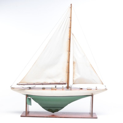 Model Wooden Sailboat and Stand, Vintage