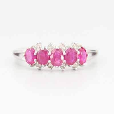 10K White Gold Ruby and Diamond Ring
