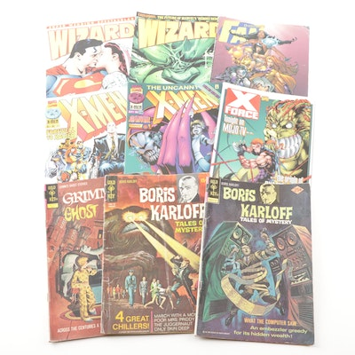 Comic Books Featuring X-Men, X-Force, Boris Karloff, Grimm's, and Wizard