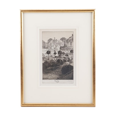 """Paul Geissler Etching """"Dresden: The Zwinger of the Royal Palace"""""""