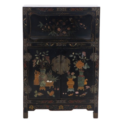 Chinese Jade, Jasper, and Mother-of-Pearl Inlay Lacquer Cabinet, 19th Century