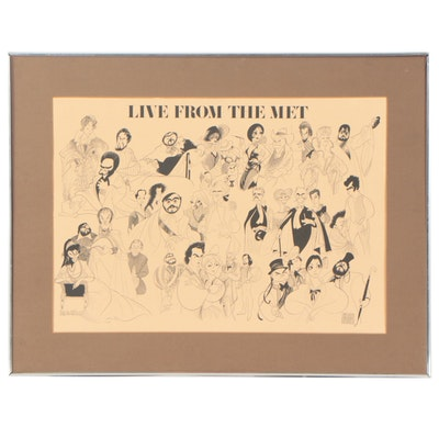 "Lithograph after Albert Hirschfeld ""Live from the Met"""