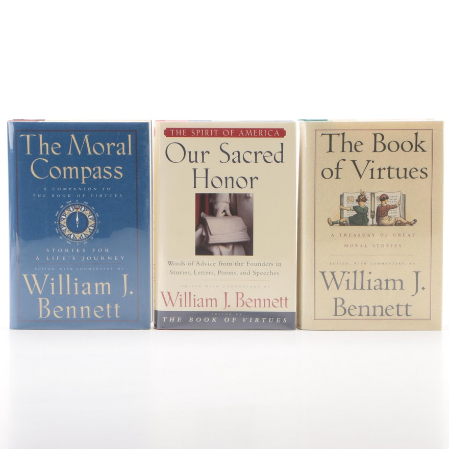 "Signed Books Edited by William J. Bennett including 1993 ""The Book of Virtues"""