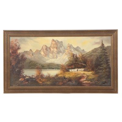 Mid Century Alpine Chalet Landscape Oil Painting