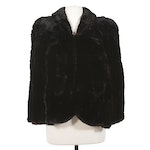 Dyed Black Sheared Beaver Fur Capelet, Mid-20th Century